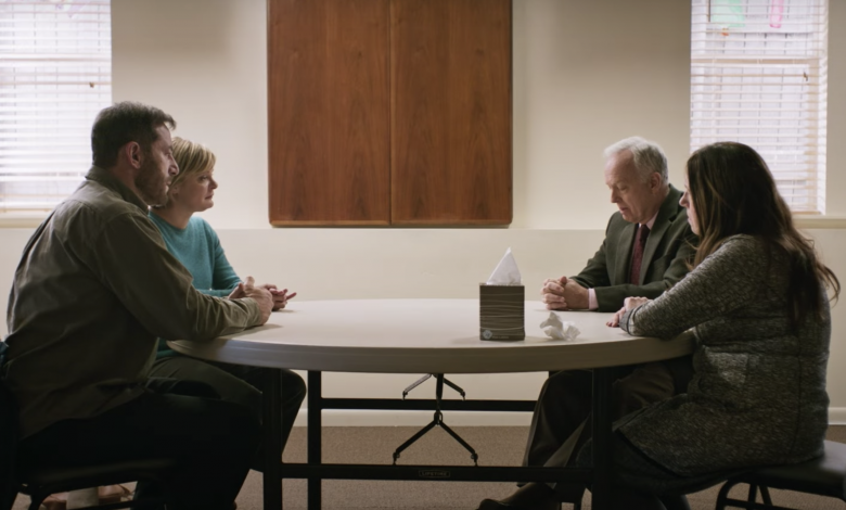 Jason Issacs as Jay and Martha Plimpton as Gail, Ann Dowd as Linda and Reed Birney as Richard, courtesy of Variety